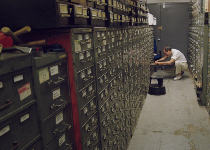 Last remaining archivist Jeff Roth searches <i>The New York Times</i> morgue.